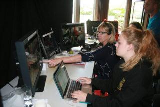 Amanda Murphy directing from the Adapt video village